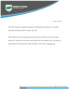 URSU VP Operations and Finance Resigns