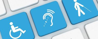IMAGE DESCRIPTION: Blue keyboard keys with a wheelchair accessible icon, hearing assistance icon, and blind accessibility icon.