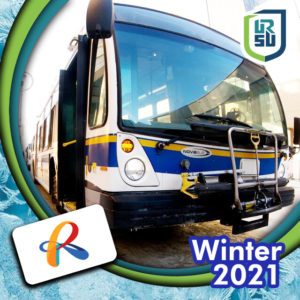 """IMAGE DESCRIPTION: The front of a white, yellow, and blue City of Regina Transit bus with a bike rack visible. The text Winter 2021 is visible in the bottom right corner, the URSU logo is in the right top corner, and the City of Regina """"R"""" logo is in the left bottom corner."""