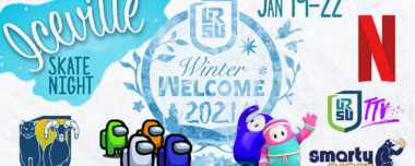 Graphic for WINTER WELCOME 2021 featuring the Winter Welcome logo which is a circle of icy blue with branches and snowflakes spreading out from it. There are logos for the different video games and digital platforms that will be involved in the week including Netflix, Twitch, Fall Guys, and Among Us.