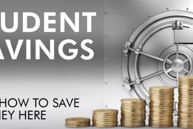 """IMAGE DESCRIPTION: A large steel safe door is closed and in front of it are stacks of gold coins/loonies. To the left are the URSU logo and text that reads """"Student Savings, because savings...turn into a fortune."""""""