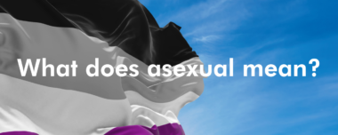 asexuality flag with text that reads what does asexual mean?